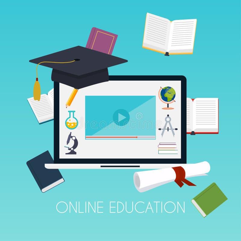 网上教育概念 与书计算机的科学概念和 皇族释放例证