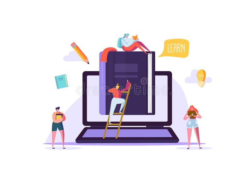网上教育概念 与平的人阅读书的电子教学 毕业大学学院字符 教学 库存例证