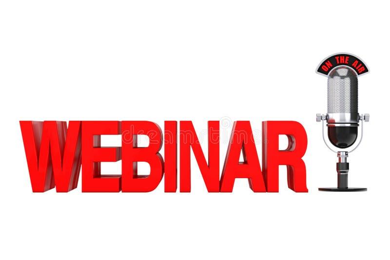 网上教育概念 与话筒和O的红色Webinar标志 向量例证