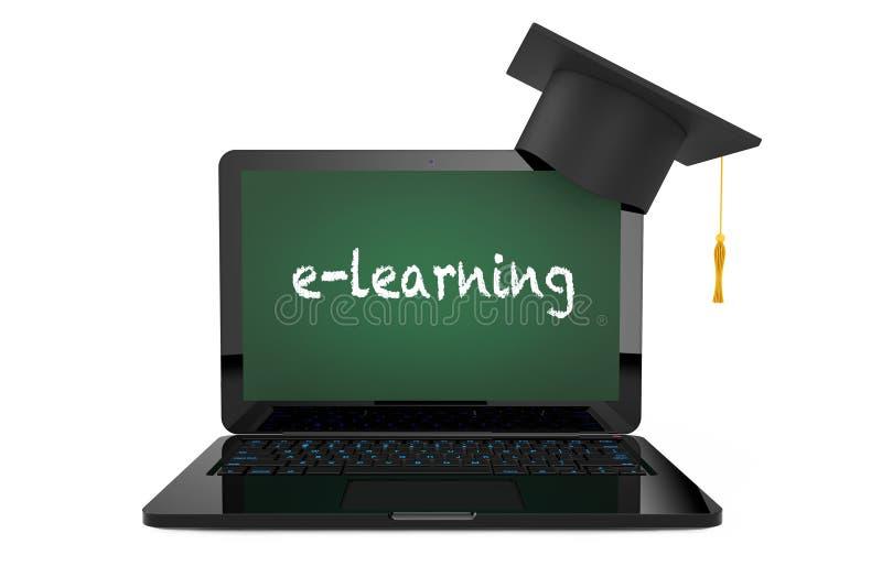 网上教育概念 在膝上型计算机的毕业帽子有Blackb的 向量例证
