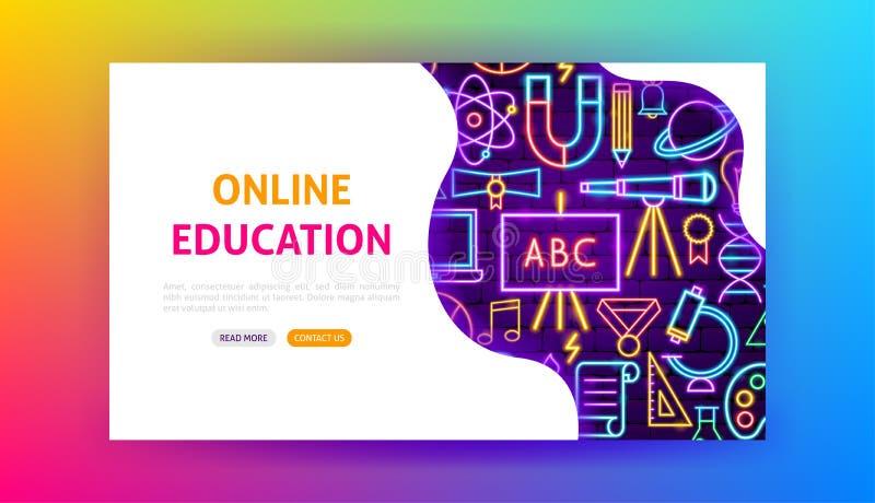 网上教育氖着陆页 向量例证