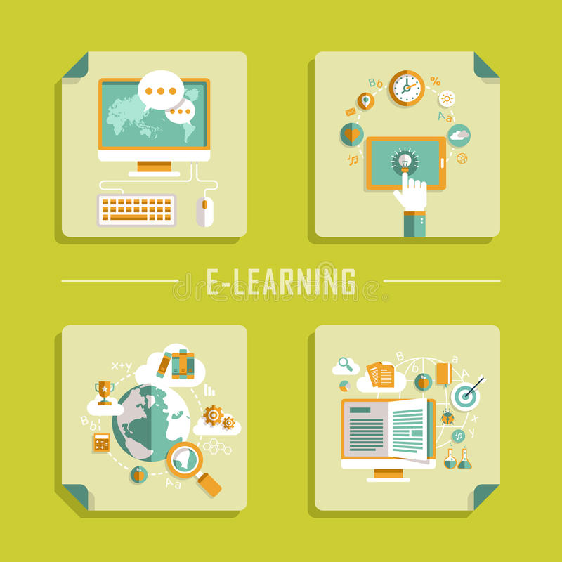 网上教育的平的设计传染媒介象 库存例证
