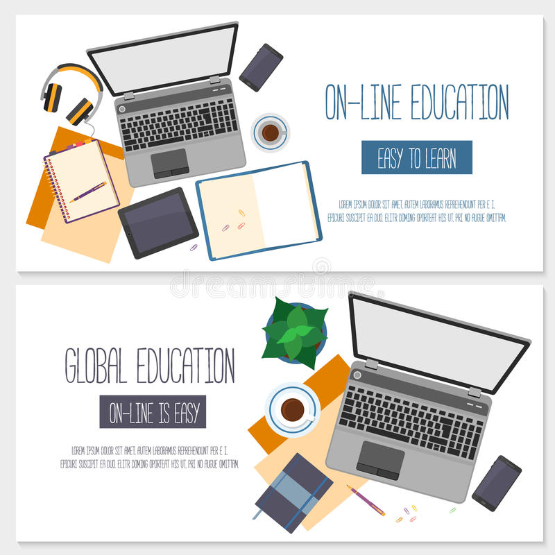 网上教育的平的设计横幅 皇族释放例证