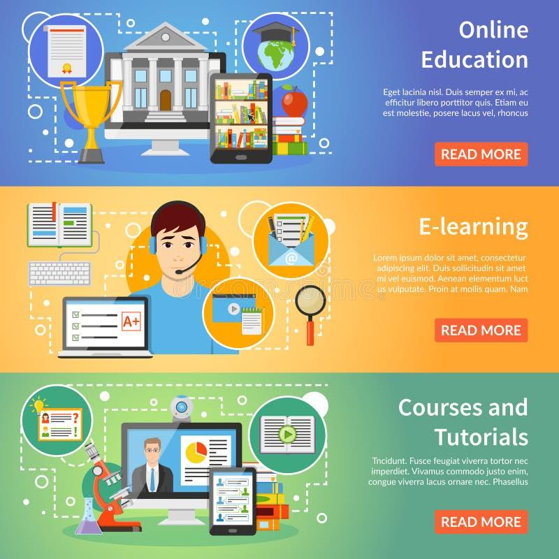 网上教育被设置的3副平的横幅 向量例证