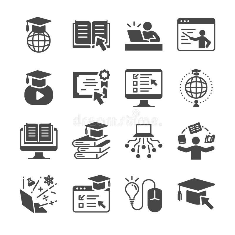 网上教育象集合 包括象如毕业,书,学生,路线,学校和更 库存例证