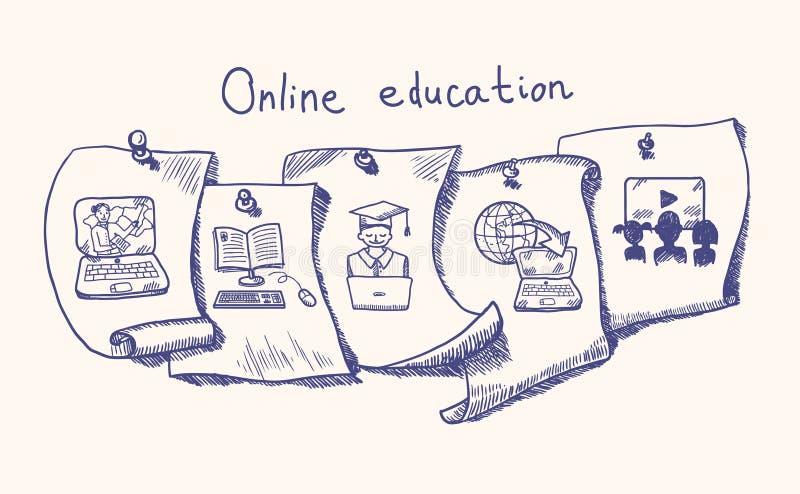 网上教育贴纸集合 皇族释放例证