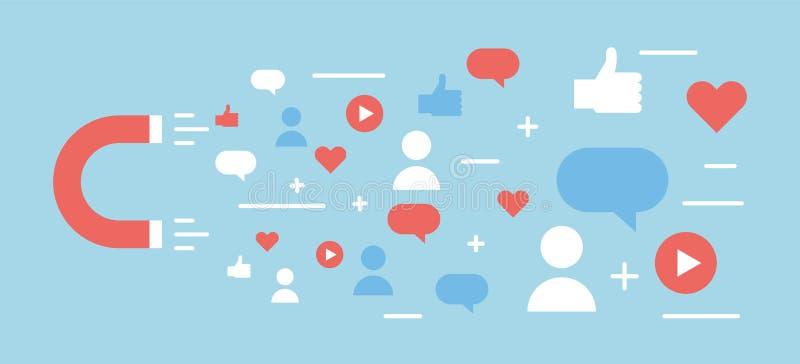网上数字式媒介磁铁和influencer 导航背景大众化的,喜欢,评论,追随者例证概念 皇族释放例证
