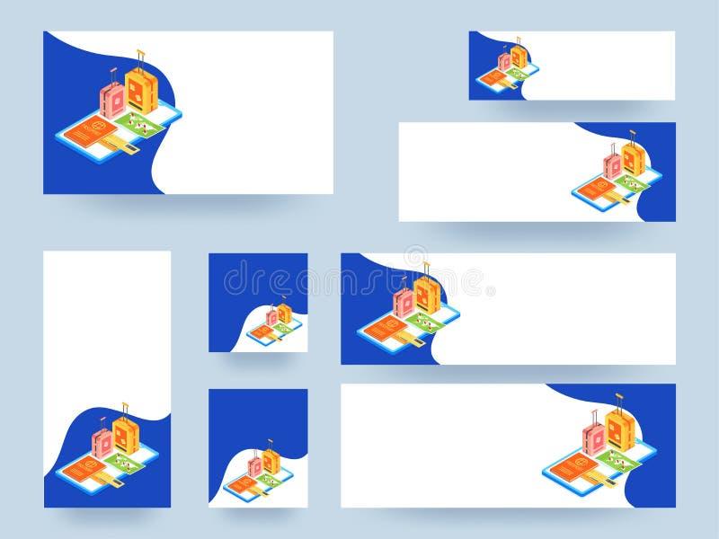 网上旅行为概念基于模板或横幅collecti服务 向量例证
