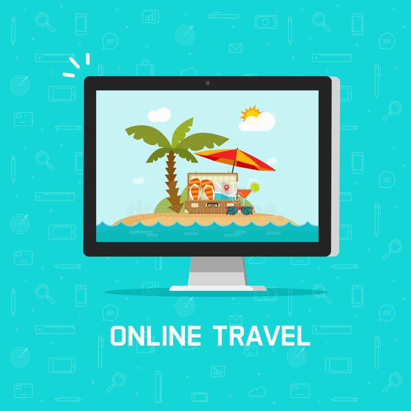 网上旅行通过计算机传染媒介例证,计划网上旅行或旅途售票的概念通过个人计算机,平的动画片 向量例证
