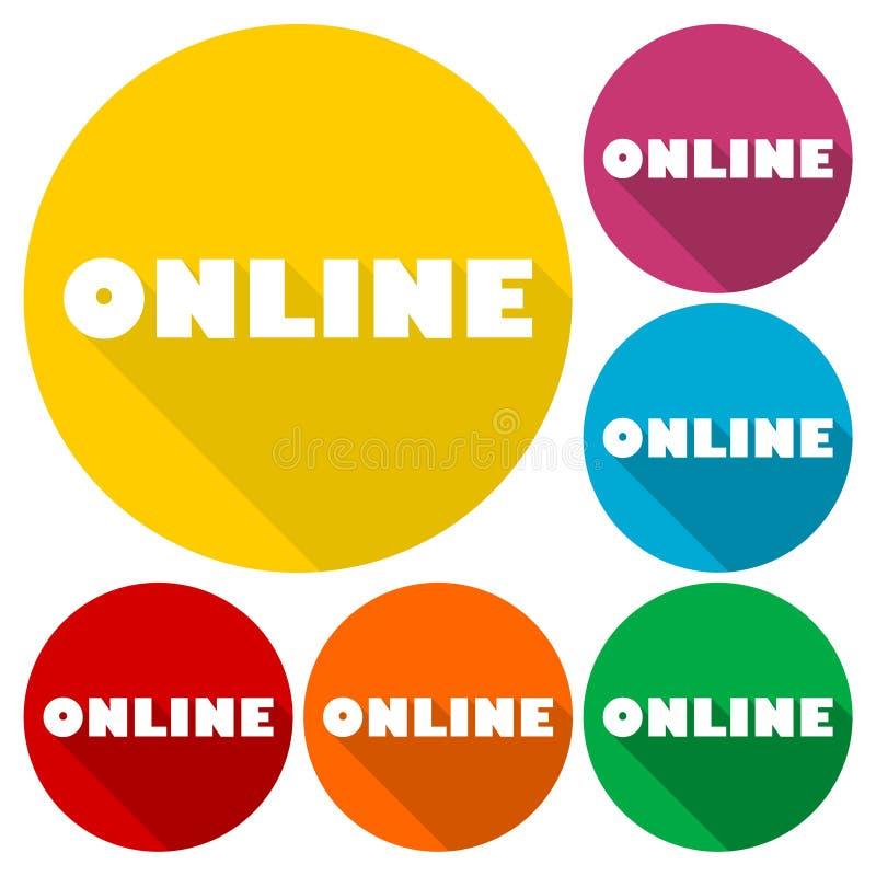网上标志,例证设置了与长的阴影 向量例证