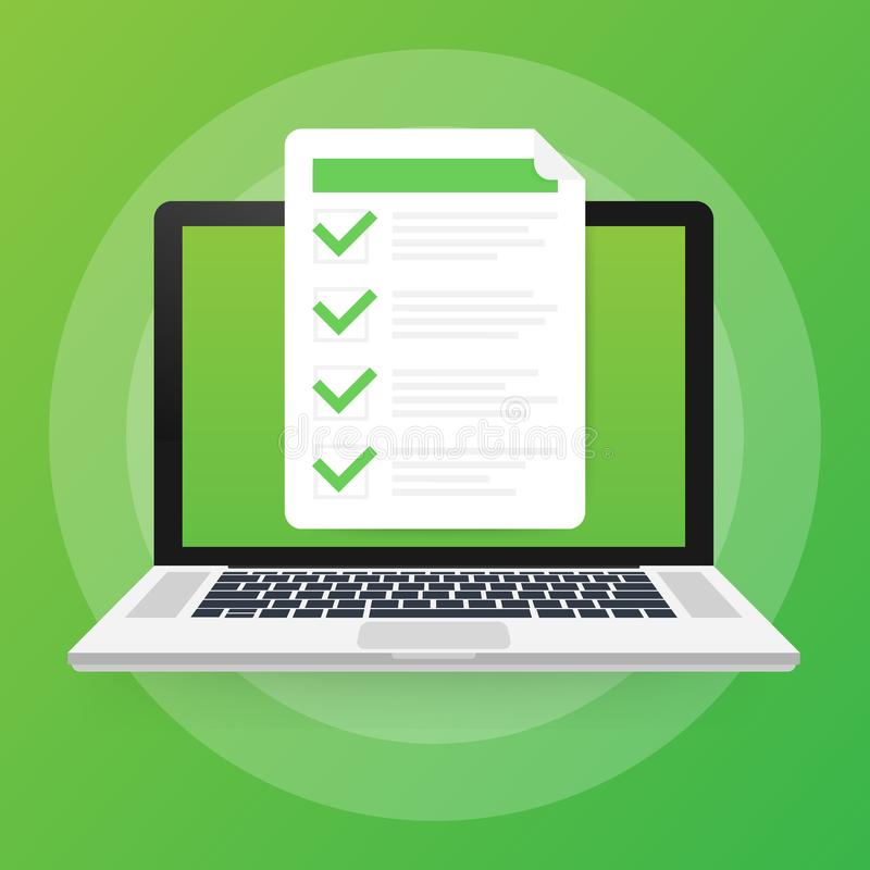 网上检查、清单和铅笔,选择答复,查询表形式,采取测试传染媒介例证 皇族释放例证