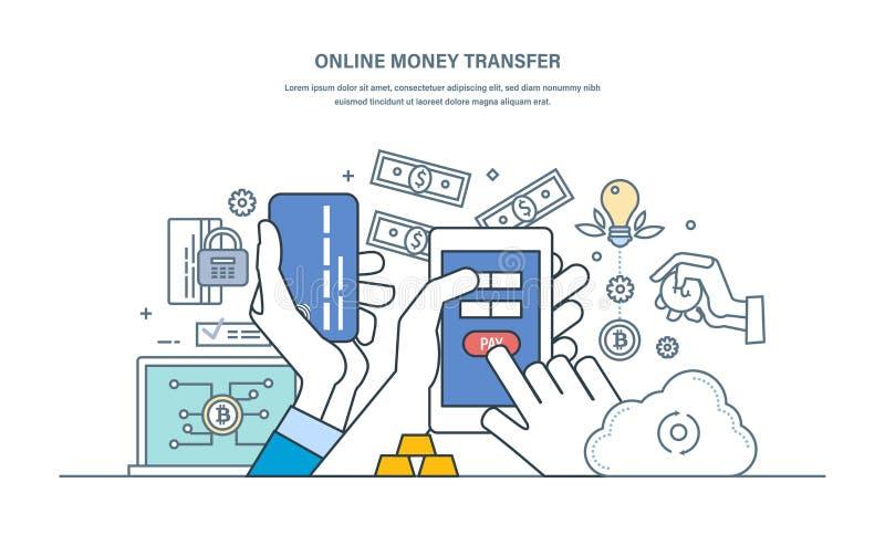 网上汇款,交易安全,经济关系,储蓄保证  向量例证