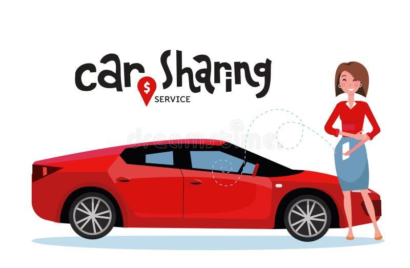 网上汽车共用模式 妇女由应用程序的书汽车在手机 在网上运输服务 在汽车分享服务上写字 ?? 皇族释放例证