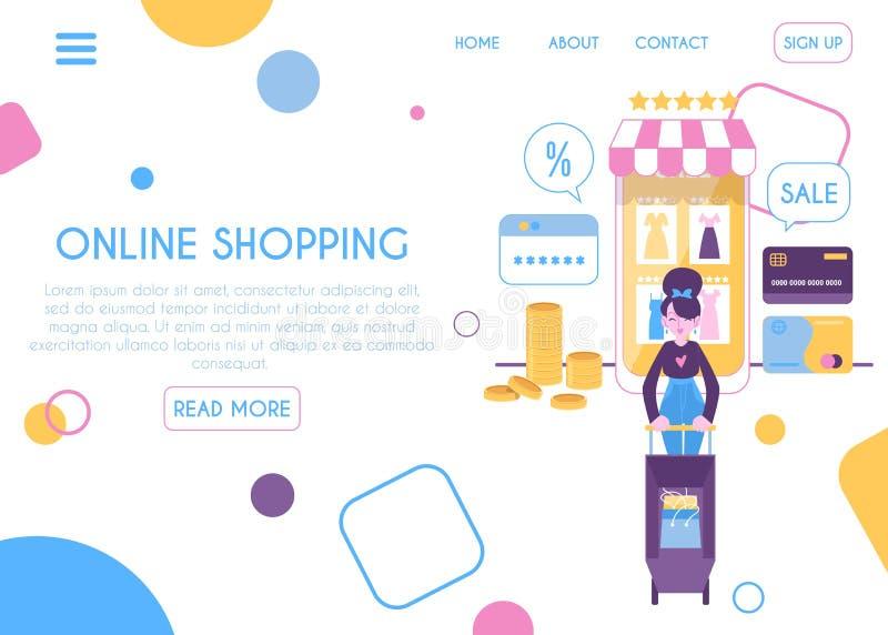 网上流动购物的页平的动画片样式网络设计模板  向量例证