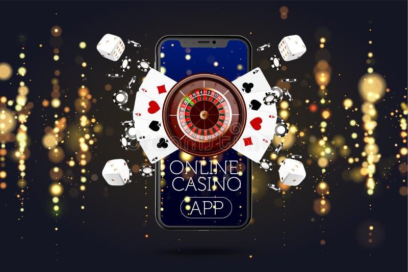 网上流动赌博娱乐场app 赌博app的啤牌 赌博娱乐场传染媒介与卡片和电话的比赛背景 向量例证