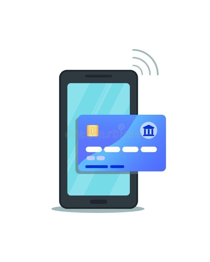网上流动银行业务,钱包,汇款概念 智能手机平的设计有处理通过credi的安全无线付款的 皇族释放例证