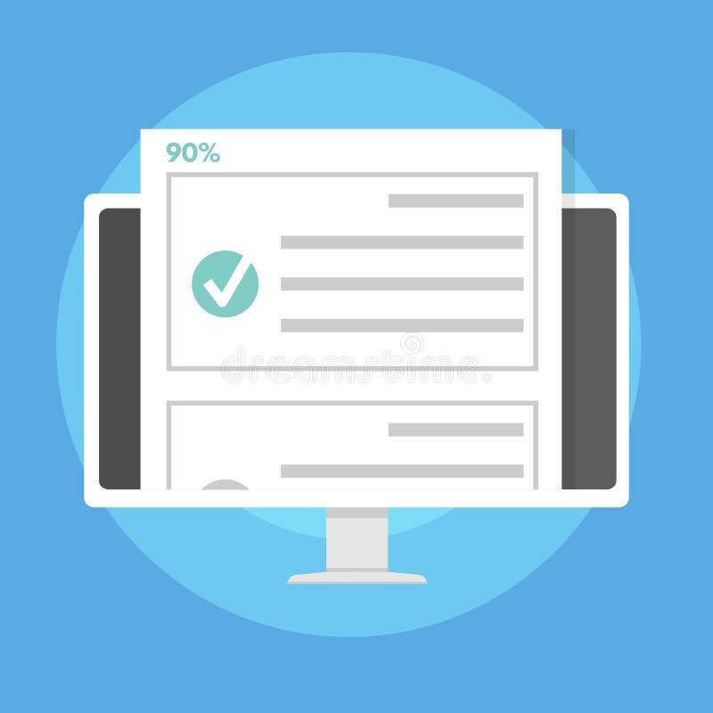 网上测验、测试、勘测或者清单检查名单E教育概念 皇族释放例证