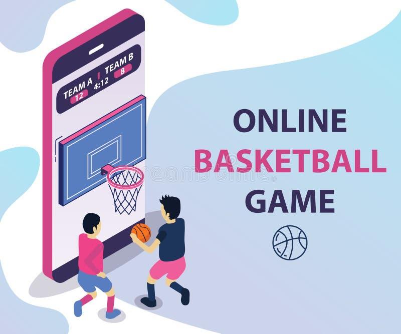 网上篮子打球等量艺术品概念 向量例证