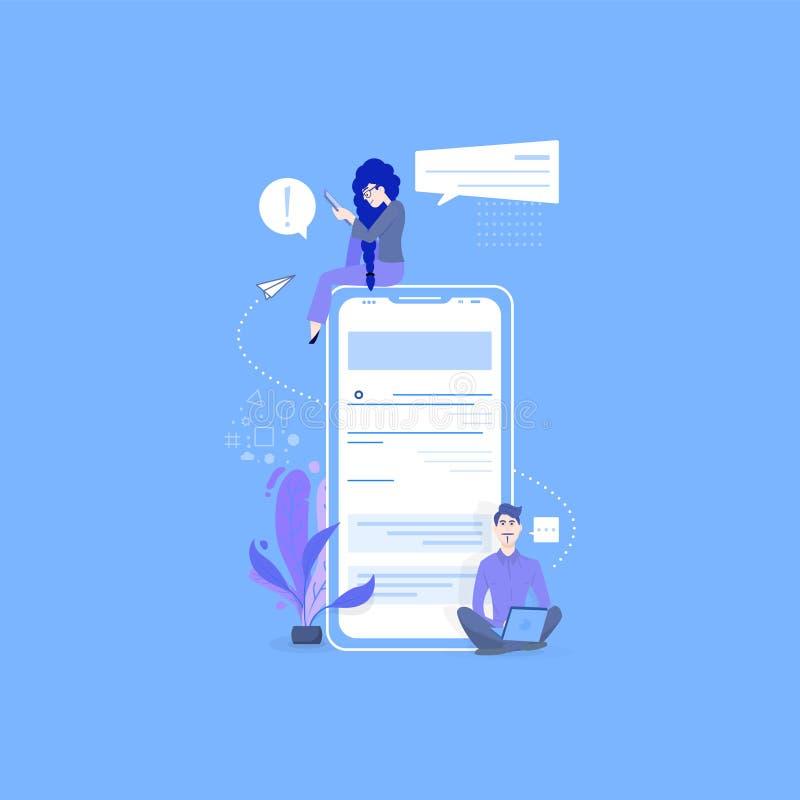 网上约会和社会网络,真正关系概念 男性和女性聊天在互联网上 向量例证