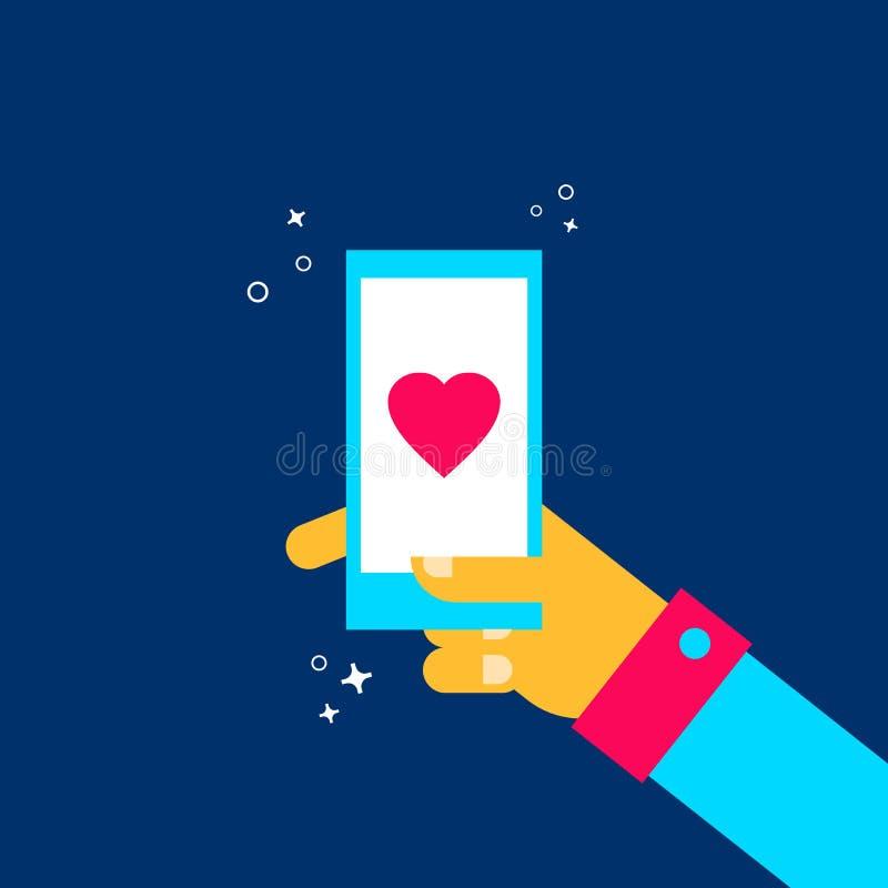 网上约会手机app概念的人 皇族释放例证