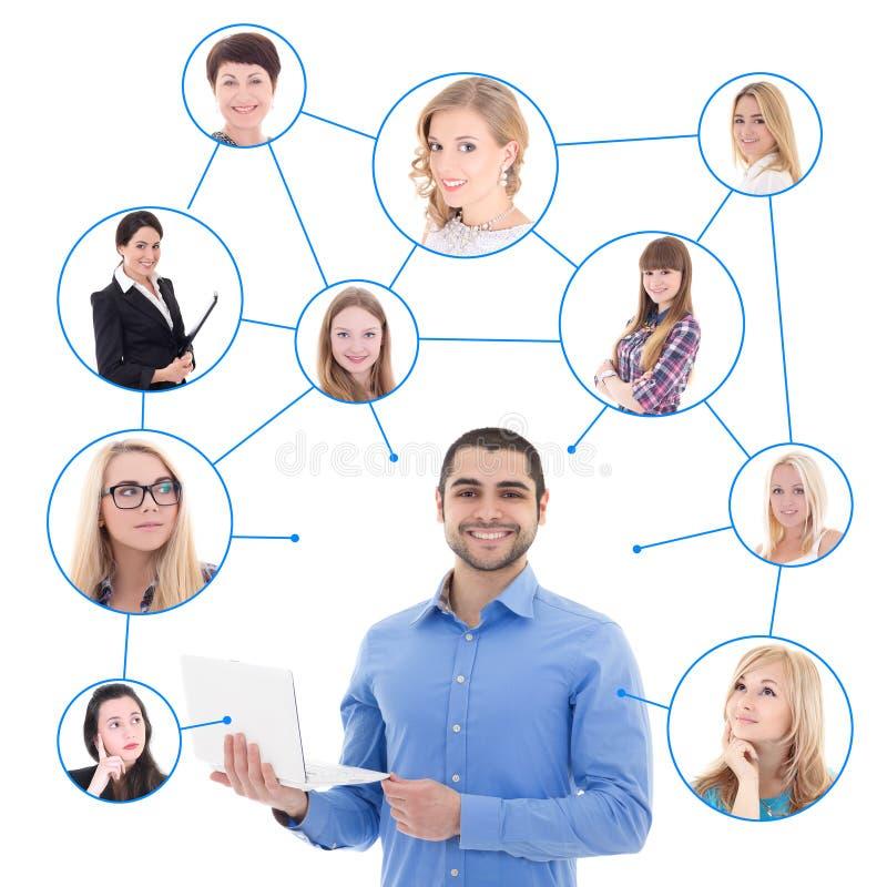 网上约会概念-有膝上型计算机的英俊的人和他的社交 库存图片