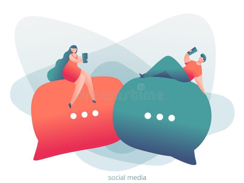 网上约会的人脉,真正关系概念 男性和女性在网上聊天 皇族释放例证