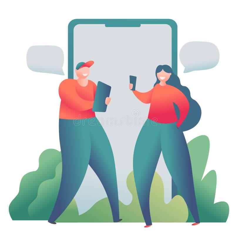 网上约会的人脉,真正关系概念 男性和女性在网上聊天 库存例证