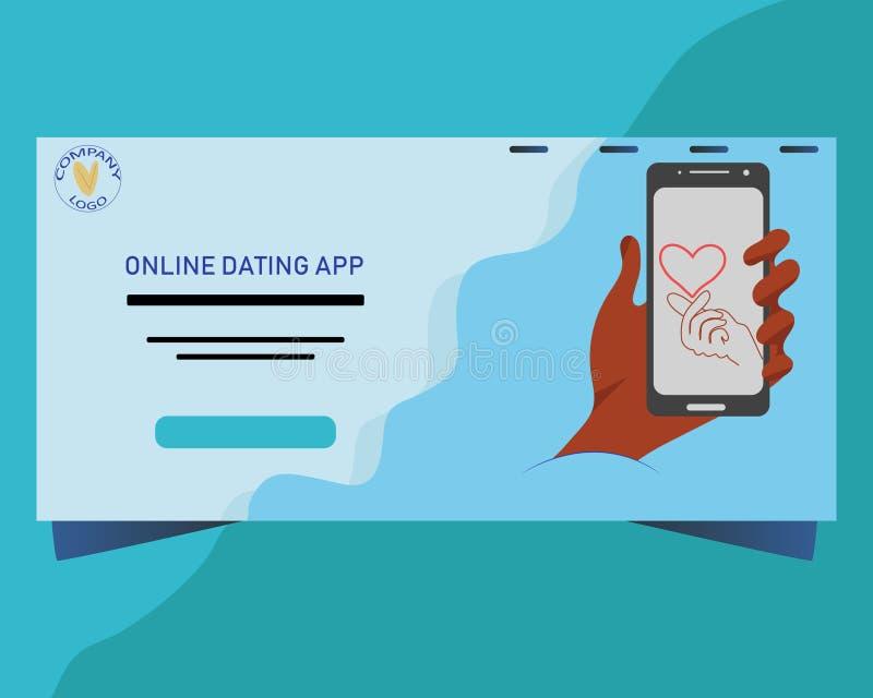 网上约会的概念的登陆的页 有手指的智能手机屏幕被折叠入心脏标志 皇族释放例证