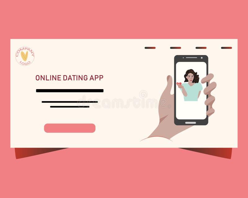 网上约会的概念的登陆的页 有显示爱的韩国迹象亚裔女孩的智能手机屏幕用手 库存例证