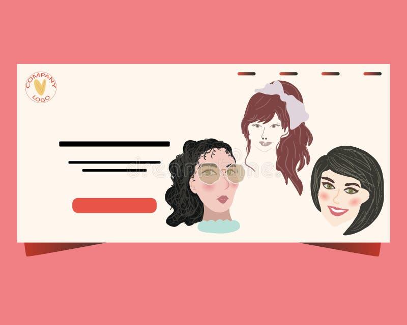 网上约会的概念 海报的,横幅,网,与女性图片的登陆的页模板 向量例证