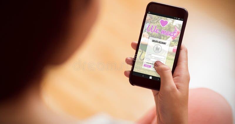 网上约会的app的综合图象 库存照片