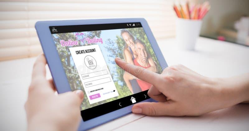 网上约会的app的综合图象 库存图片