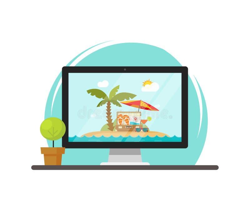 网上网上旅行的旅行通过计算机传染媒介例证,概念和旅途售票通过个人计算机,平的动画片 向量例证