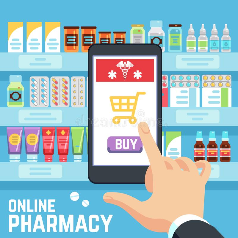 网上药房传染媒介概念 买家精选并且买药物和疗程在细胞手机屏幕 库存例证
