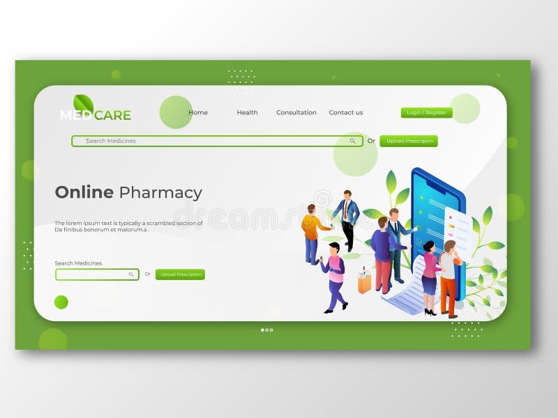 网上药房商店、医学和医疗保健概念网上药房的 库存例证