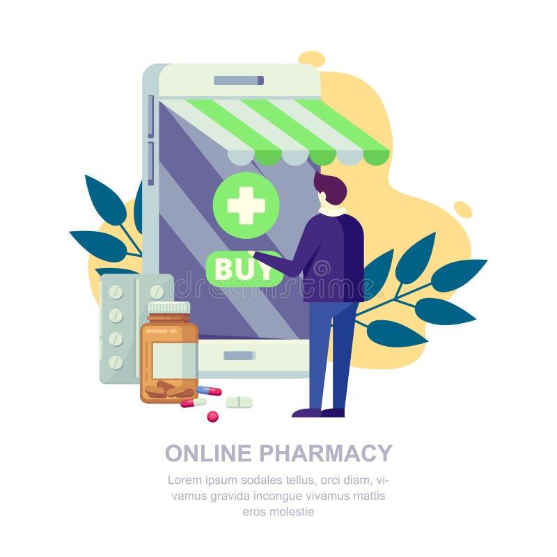 网上药房商店,平的例证 人和药房在智能手机屏幕上 医学流动应用程序概念 皇族释放例证
