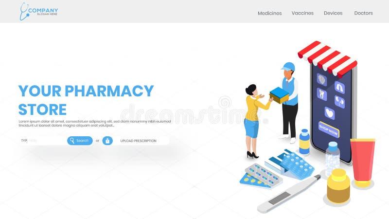 网上药房服务有医疗商店等轴测图智能手机的网站模板或登陆的页的 向量例证