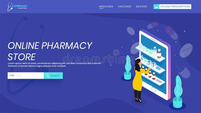 网上药房服务有医疗商店等轴测图智能手机的 向量例证
