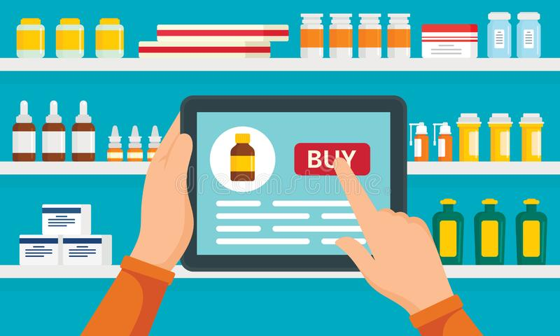 网上药房概念背景,平的样式 向量例证