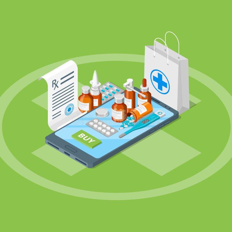 网上药房, 3d等量例证 平的例证 药房流动app概念 向量例证