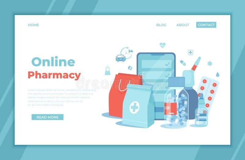 网上药房 在网上购买药剂和药物 在流动应用的药品 手机屏幕,医学包裹, 向量例证
