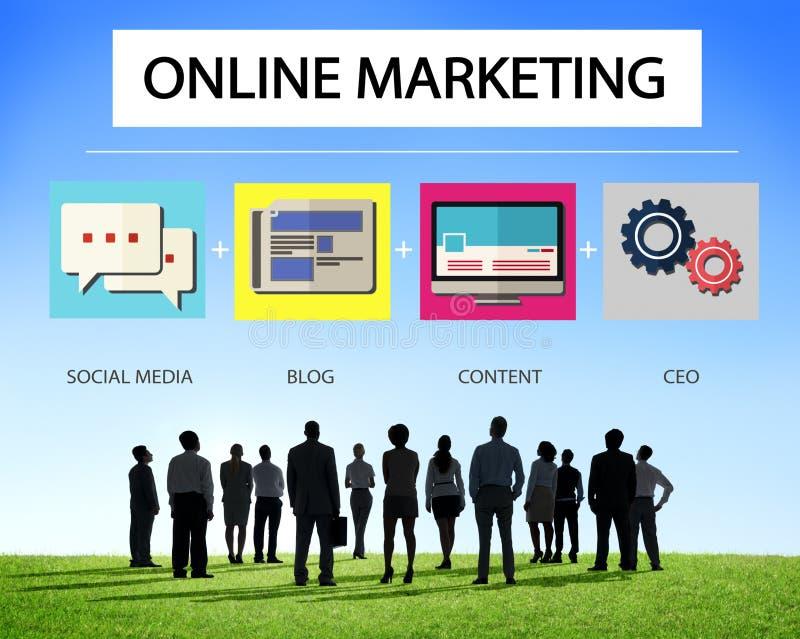网上营销企业内容战略目标概念 库存例证