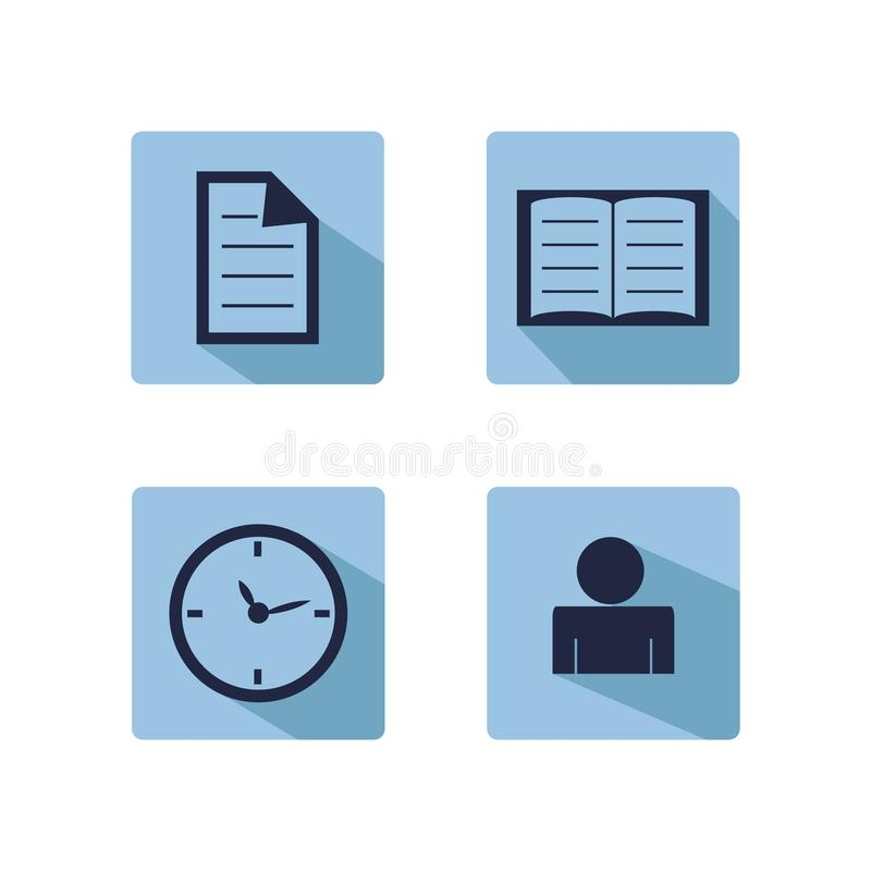 网上营销,广告, copywriting和seo微型套平的象 向量例证
