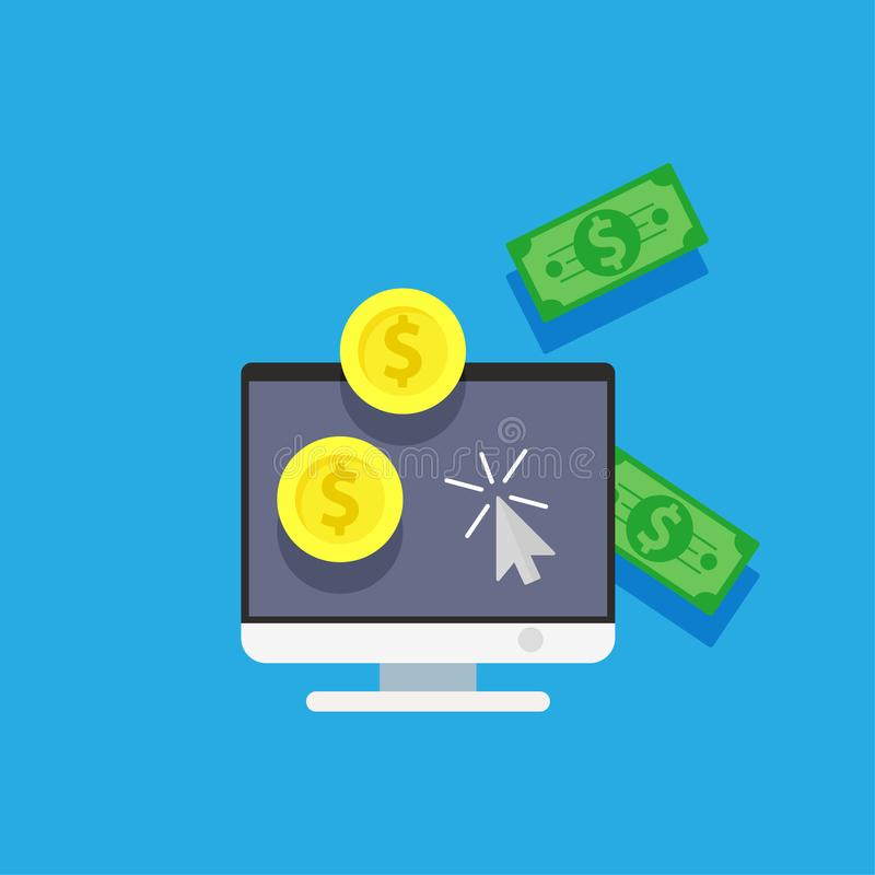 网上薪水卡片信用金钱 在计算机互联网app例证的付款购物 企业背景象购买传染媒介 El 皇族释放例证