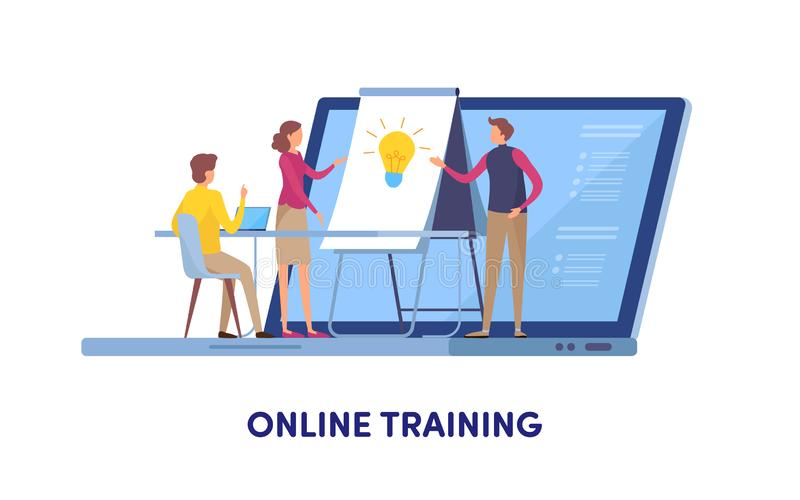网上训练,教育中心,网上路线,训练,教练,研讨会 动画片微型例证向量图形 库存例证