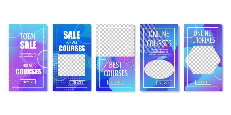 网上课程和讲解集合的全面销售 库存例证