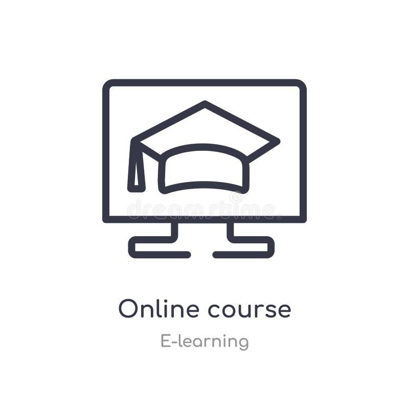 网上课程概述象 被隔绝的线从电子教学汇集的传染媒介例证 编辑可能的稀薄的冲程网上课程象 库存例证