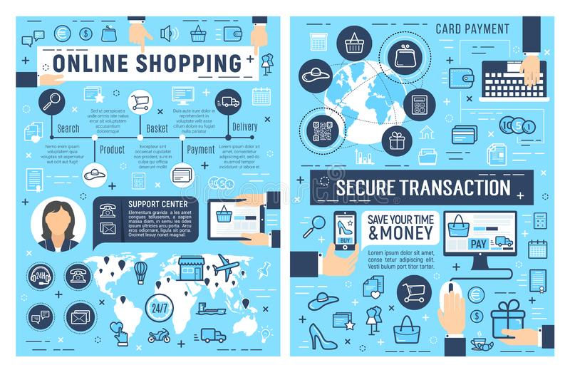 网上购物和卡片付款安全 向量例证