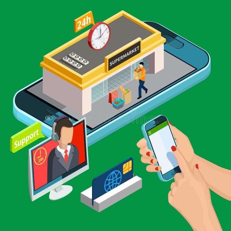 网上购物等量设计观念 向量例证