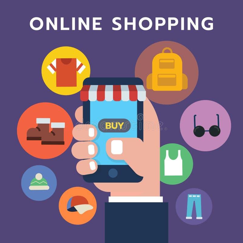 网上购物象,拿着智能手机的符号集手 向量例证